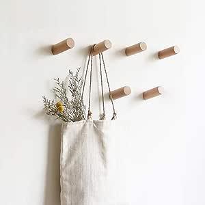 Decorative Hooks Single Organizer Hat Hanger Towel Rack Hook Entryway Hat Rack Wooden Coat Hooks Wall Mounted HomeDo 5Pack Wood Wall Hooks Adhesive Hooks Hat Hook Cherry-10cm, 5Pack