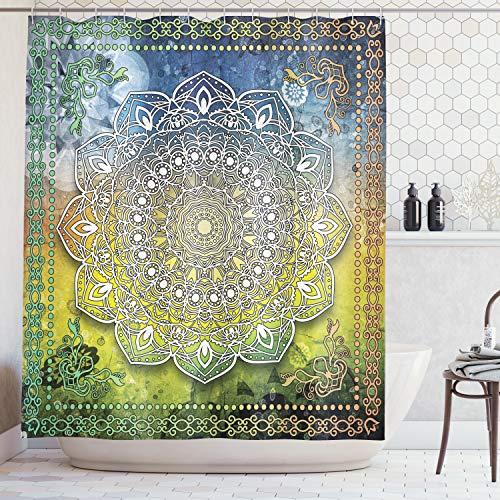ABAKUHAUS Duschvorhang, Mystische Asiatische Mandala Zen Kultur Chakra Karma Ruhe und Harmonie Symbol Design Druck, Wasser und Blickdicht aus Stoff mit 12 Ringen Schimmel Resistent, 175 X 200 cm