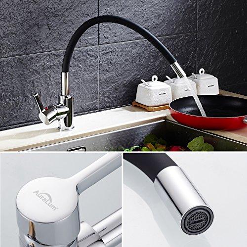 Auralum – Design-Küchenarmatur mit flexiblem Brausehals, Schwarz - 3