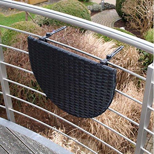 Balkonhängetisch 60x40cm, Metall + Polyrattan schwarz Balkon Tisch Hängetisch