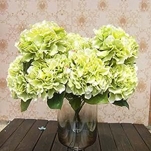 CasaNet- 1 Mazzo di 5 Fiori Artificiali Ortensia, Fioritura in Seta, Bouquet Decorazione per Sposina Cerimonia Matrimonio Casa (Verde)
