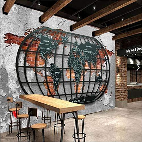 Sucsaistat Papier Peint Mural Nostalgie rétro Relief métal Carte du Monde Bar Restauration Fond d