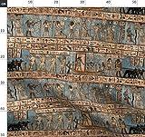 Antik, Ägypten, Ägyptisch, Blau, Hellbraun Stoffe -