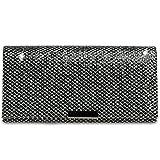 CASPAR TA342 Damen kleine elegante Glitzer Clutch Tasche Abendtasche, Farbe:schwarz-silber;Größe:One Size