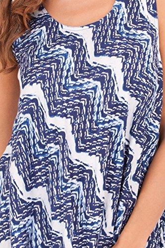 Dannii Matthews - Robe - Avec taille nouée - Sans Manche - Femme bleu/blanc