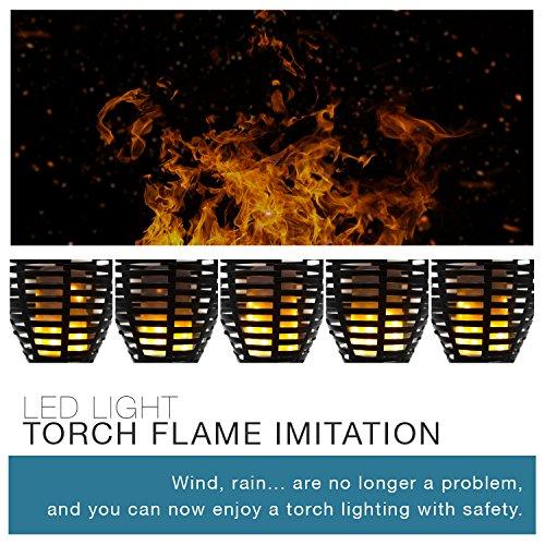 LUMISKY MAITY SUN Lampe Torche LED Imitation Flamme Solaire pour Jardin, ABS, Noir, 11x11x78 cm