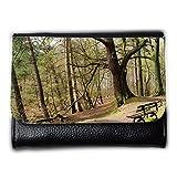 Portemonnaie Geldbörse Brieftasche // M00157223 Bench Wald Baum Bäume Ast // Medium Size Wallet