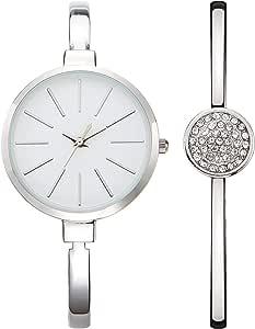 Nuovo, orologio da donna analogico, classico, al quarzo, con display analogico e cinturino in lega di diamanti