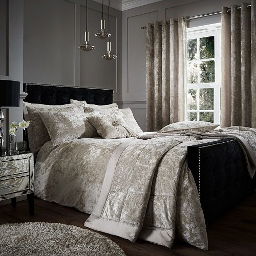 Catherine Lansfield Crushed Velvet Duvet Set, Polyester, Natural, Double Best Price and Cheapest