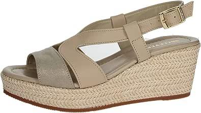 Valleverde 32211 Sandalo Scarpe Zeppa Donna Beige Pelle