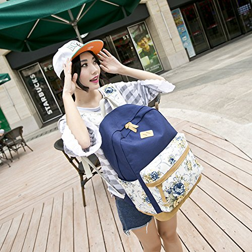 Zaino scolastico dello zaino di viaggio casuale floreale per le ragazze / sacchetto scolastico delle donne leggere Blu scuro