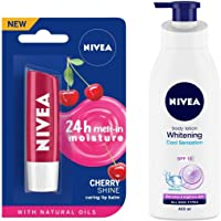 NIVEA Lip Balm, Fruity Cherry Shine, 4.8g And NIVEA Body Lotion, Whitening Cool Sensation, SPF 15, For All Skin Types, 400ml