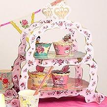 Soporte de 2 Niveles para Tartas, Rosa, Flor, Boda, Postre, Cupcake