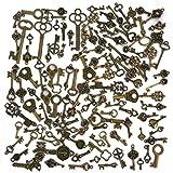 Lot de 125 pcs Clef/Clé/porte-clé rétro pour DIY les breloques/embellissements/colliers/bijoux/pendentifs,couleur bronze antique