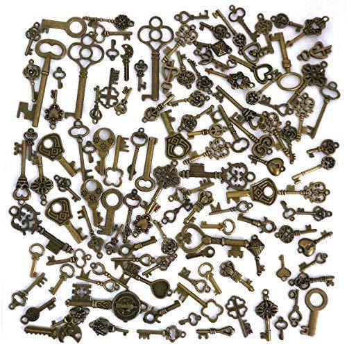 125 Stück Retro Schlüssel Bronze Schlüssel Anhänger Vintage Schmuck Skelett Metall Pendant Retro Anhänger mit zufälligen Formen für Halskette Schmuckherstellung DIY Deko 1-6cm