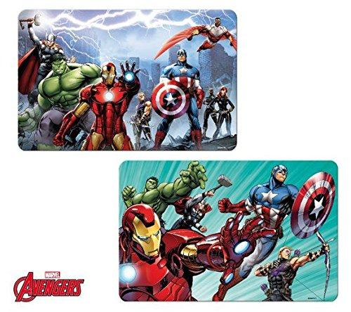 Marvel Avengers Set di 2tovagliette Plus adesivo 3d regalino, Plastica, Bunt, 2 pezzi