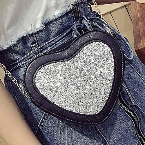 Oyedens Damen Modische HerzföRmige Pailletten Handtasche UmhäNgetasche Kleine Tasche GeldböRse Silber