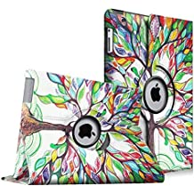 Fintie iPad 4 / 3 / 2 Funda - Giratoria 360 Grados Smart Case Funda Carcasa con Función y Auto-Sueño / Estela para Apple iPad 4 / iPad 3 / iPad 2, Love Tree