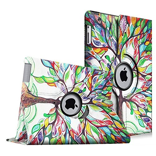 Fintie-iPad-4-3-2-Funda-Giratoria-360-Grados-Smart-Case-Funda-Carcasa-con-Funcin-y-Auto-Sueo-Estela-para-Apple-iPad-4-iPad-3-iPad-2-Love-Tree
