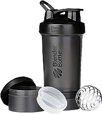 BlenderBottle ProStak Shaker   Protein Shaker  Fitness Shaker   BPA frei   mit BlenderBall   inkl. 2 Containern 150ml & 100ml +1 Pillenfach   650ml - Schwarz