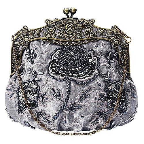 frauen antik floral perlen pailletten abendtasche dinner party hochzeit handtaschen. 18 x 16 cm gray