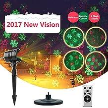 LED Projecteur Noël Exterieur Etanche, Infinitoo Projecteur de Lumière à LED avec Télécommande RF (Rouge + Vert)