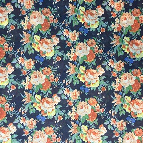 Ditsy Floral Print 1527/554Navy Blau & Orange 100% Baumwolle Linon Sommer Kleid Stoff 147,3cm breit, Meterware, -