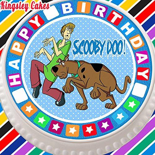 Grande décoration pour gâteau comestible, feuille de glaçage prédécoupée de 19 cm de diamètre avec impression Scooby Doo, et bordure anniversaire