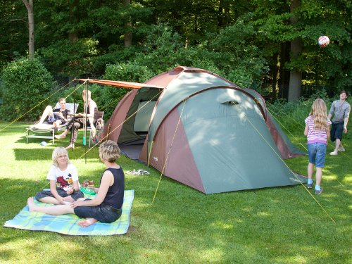 Skandika Daytona XXL Family Dome Tent – 6-9 Person, Green, with Sun Canopy