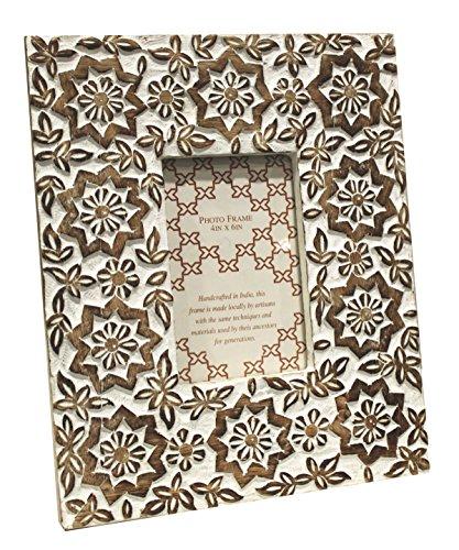 Portafoto cornice da tavolo in legno intarsiato stelle bianco h30x25x2cm