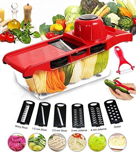 FUKTSYSM Cortador de verdura - Mandolina de Cocina Mandolina de Cocina Frutas 6+1 Cortador de verduras manual de patatas rallador de zanahoria rebanador de queso con 6 hojas de acero inoxidable intercambiables