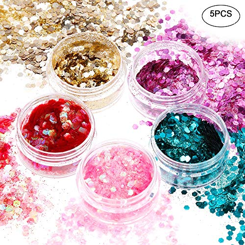 Faburo 5 pcs Glitzer Sequin Chunky Glitter Make-Up Glitzer Glitzer-Formen für Gesicht, Körper und...
