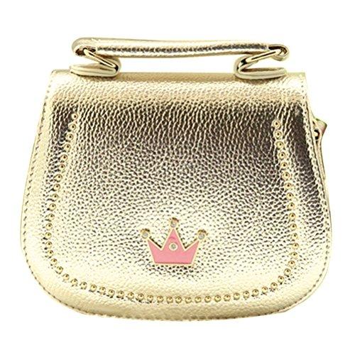 Honeymall Damen Kleines Mädchen Tasche Kinder Umhängetasche Handtasche Taschen KindertascheMode Frauen Schultertasche PU Leder Mit Kaiserkrone Verstellbarer Schultergurt(Schwarz) Gold