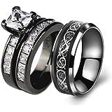 زوجين خاتم الزفاف مجموعات لديه النساء الأسود الذهب مطلي مربع تشيكوسلوفاكيا الرجال الفولاذ المقاوم للصدأ الفرقة الزفاف الدائري