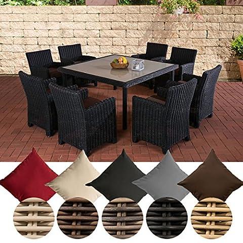 CLP Poly-Rattan Sitzgruppe ST. AUGUSTIN (8 x Polyrattan Stuhl + Tisch 150 x 150 cm) Rattan Farbe schwarz, Bezug Terrabraun