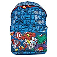 PERLETTI - Marvel Comics Avengers Backpack for Boys - Kids School Backpack with Adjustable Shoulder Straps - Hulk, Spiderman, Iron Man, Captain America Print - 38x26x16 cm