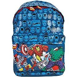 Mochila para Niño Marvel Los Vengadores - Bolso escolar Avengers de Capitán América Iron Man Spiderman y Hulk con correas regulables - Azul - 38x26x16 cm - Perletti