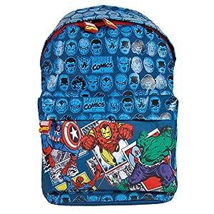 PERLETTI – Mochila para Niño Marvel Los Vengadores – Bolso Escolar Avengers de Capitán América Iron Man Spiderman y Hulk con Correas Regulables – Azul – 38x26x16 cm