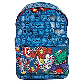 61GJGlgBUAL. SS324  - PERLETTI - Mochila para Niño Marvel Los Vengadores - Bolso Escolar Avengers de Capitán América Iron Man Spiderman y Hulk con Correas Regulables - Azul - 38x26x16 cm
