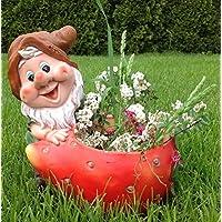 XL Design Zwerg mit Marienkäfer 38 cm 11021-3 Gartenzwerg Figuren Dekoration