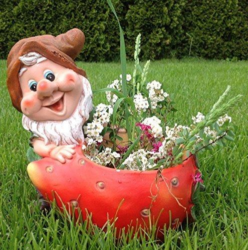 Design XL Zwerg mit Blumentopf 27 cm Hoch 50613-2 Garten Gartenzwerg Figuren