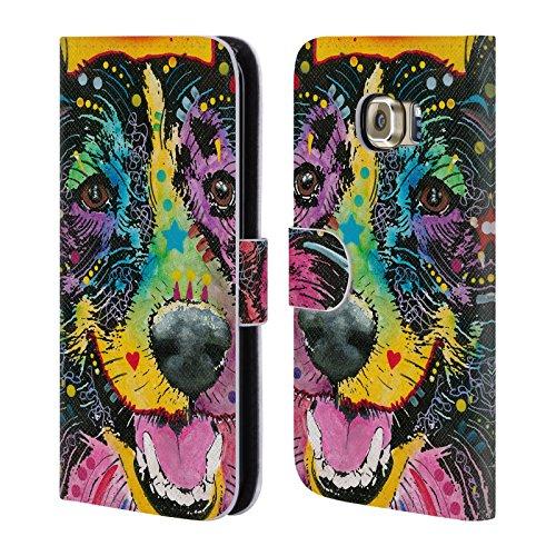 Ufficiale Dean Russo Collie sorridente Cani Cover a portafoglio in pelle per Samsung Galaxy S6 edge