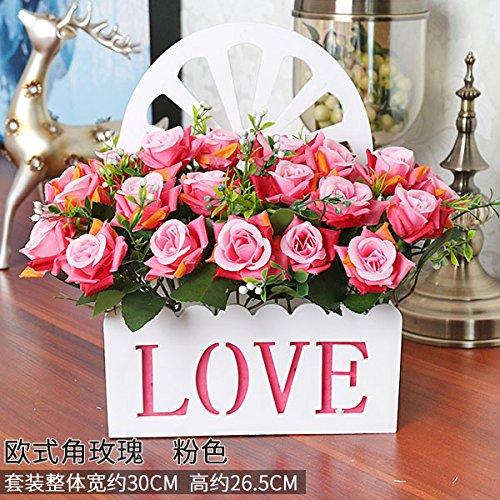 Meili flowersimulazione interni fiore finto pacchetto di fiori di seta swing di fiore in fiore in plastica decorazioni parete cesto fiorito set regalo nel soggiorno, rosso s