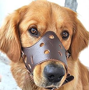 Dekawei Muselière réglable Anti-biting Muselières pour Small Medium Grand Chien Aboyer Bitting mastication pour animal domestique Chat Cuir Masque Muselières