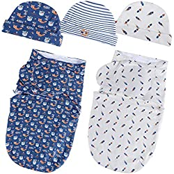 Lictin 5Pcs Envoltura Swaddle Manta y Gorro para Bebe 0-6 meses Unisexo 100% Algodón Para Verano y Otoño