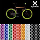 RydeSafe Reflective Bike Decals Hexagon Kits – adesivo riflettente per bicicletta, Rot, s