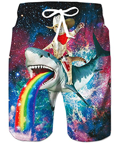d4ed84b61c TUONROAD Mens Swim Trunks Funny 3D Print Cat Galaxy Rainbow Shorts for Men Quick  Dry Surf