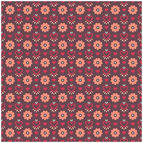 Wallario Acrylglasbild Muster mit Blumen und Herzen - 50 x 50 cm in Premium-Qualität: Brillante Farben, freischwebende Optik