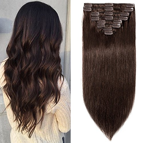 20cm-55cm extension clip 100% remy human hair capelli veri tessitura con clips full head parrucca vera (20cm-65g #2 marrone scuro)