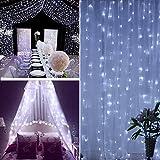 AOLVO batteriebetrieben 300LED Vorhang Lichterkette, 9,8x 9,8Ft Starry Fairy Deko Lichterkette für Weihnachten, Hochzeit, Schlafzimmer, Betthimmel, Garten, Terrasse, Outdoor Innen Wand Decor weiß